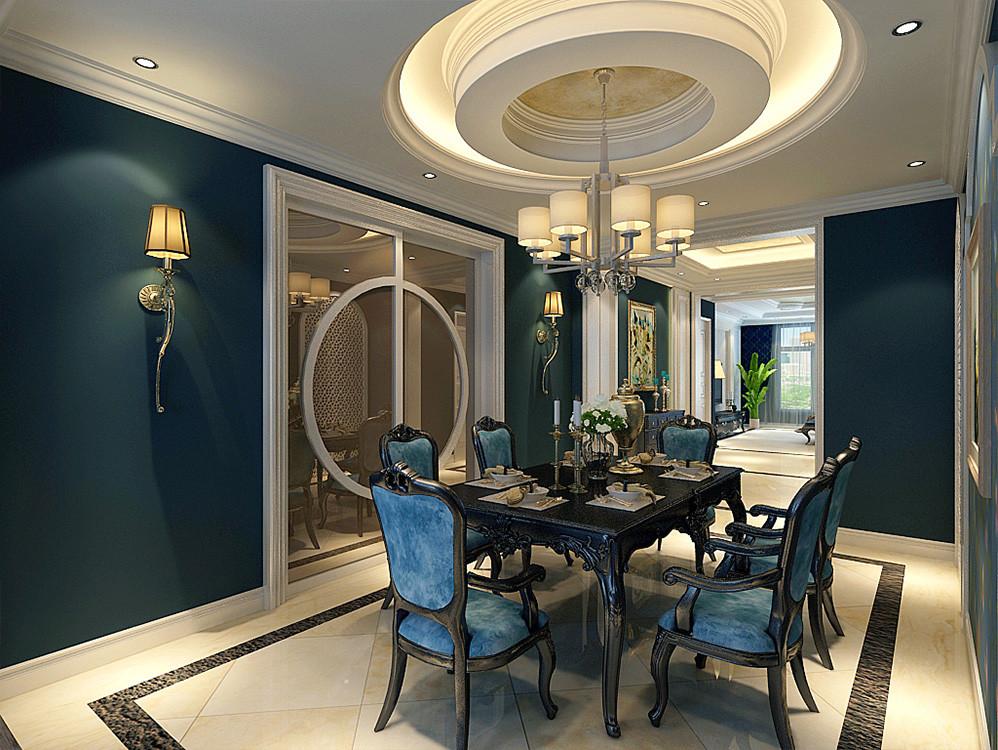 179㎡美式装修风格样板房赏析,当下流行色羽衣甘蓝绿的绝妙运用