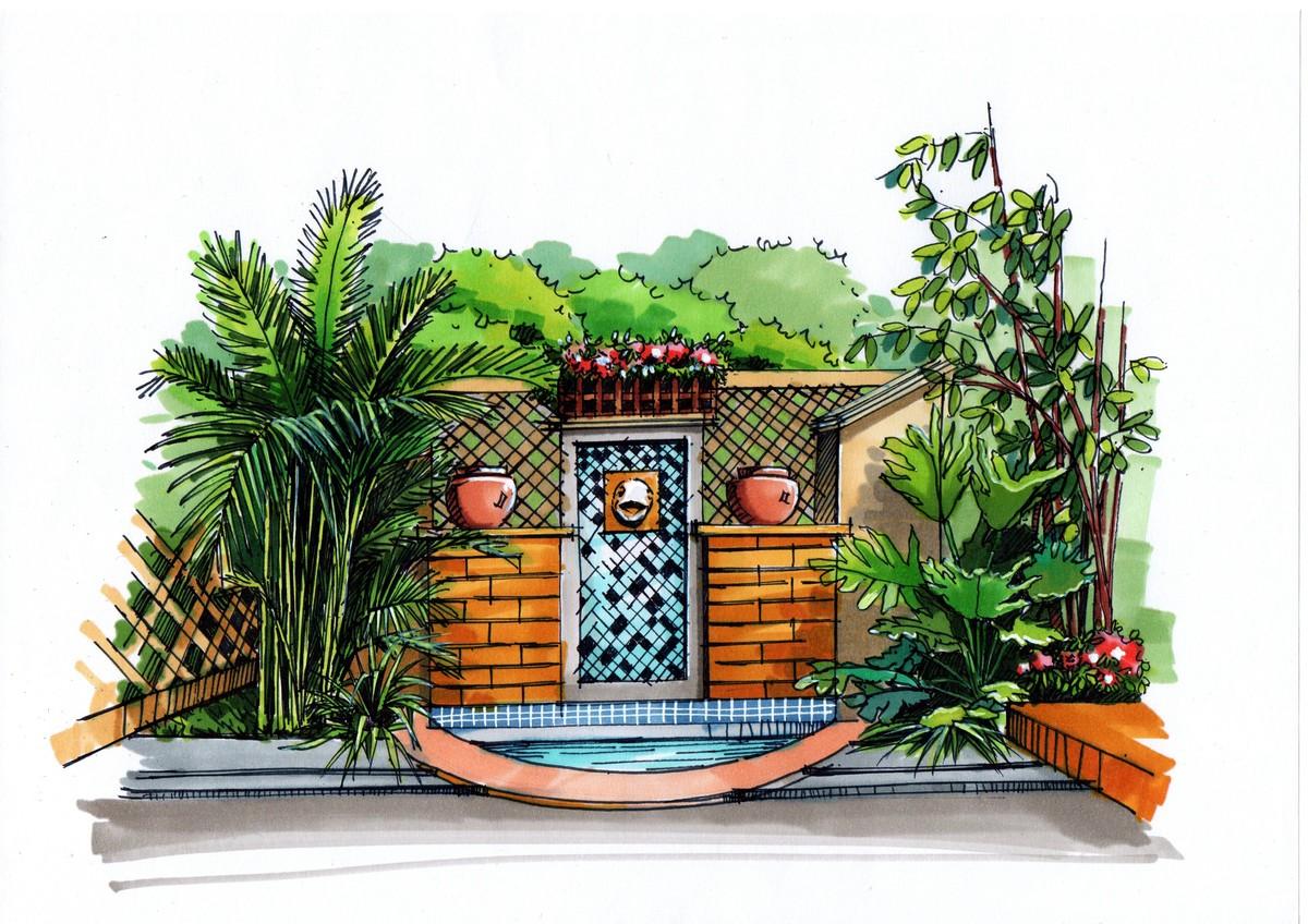 【青岛手绘】庭院水景景观设计手绘 - 一行手绘|官方