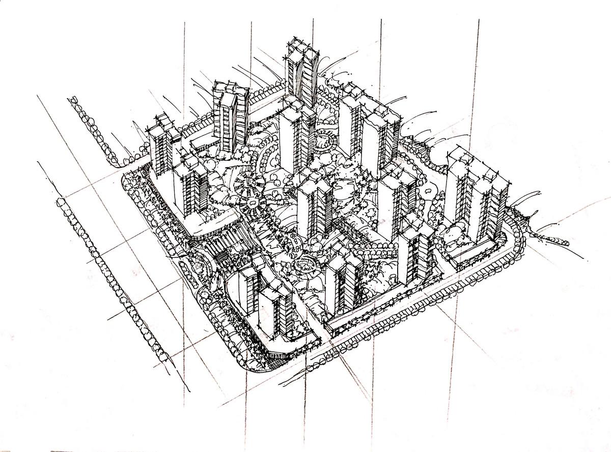【北京手绘】高档小区规划鸟瞰图 - 一行手绘|官方网站