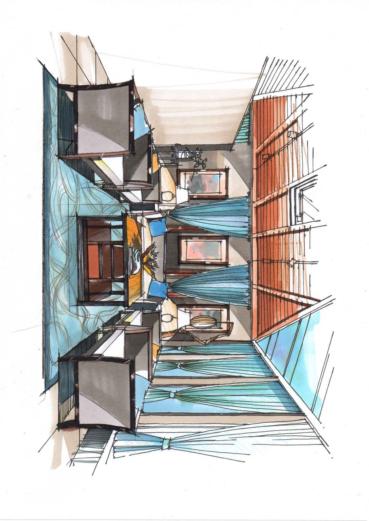设计公司休息区 新中式设计手绘