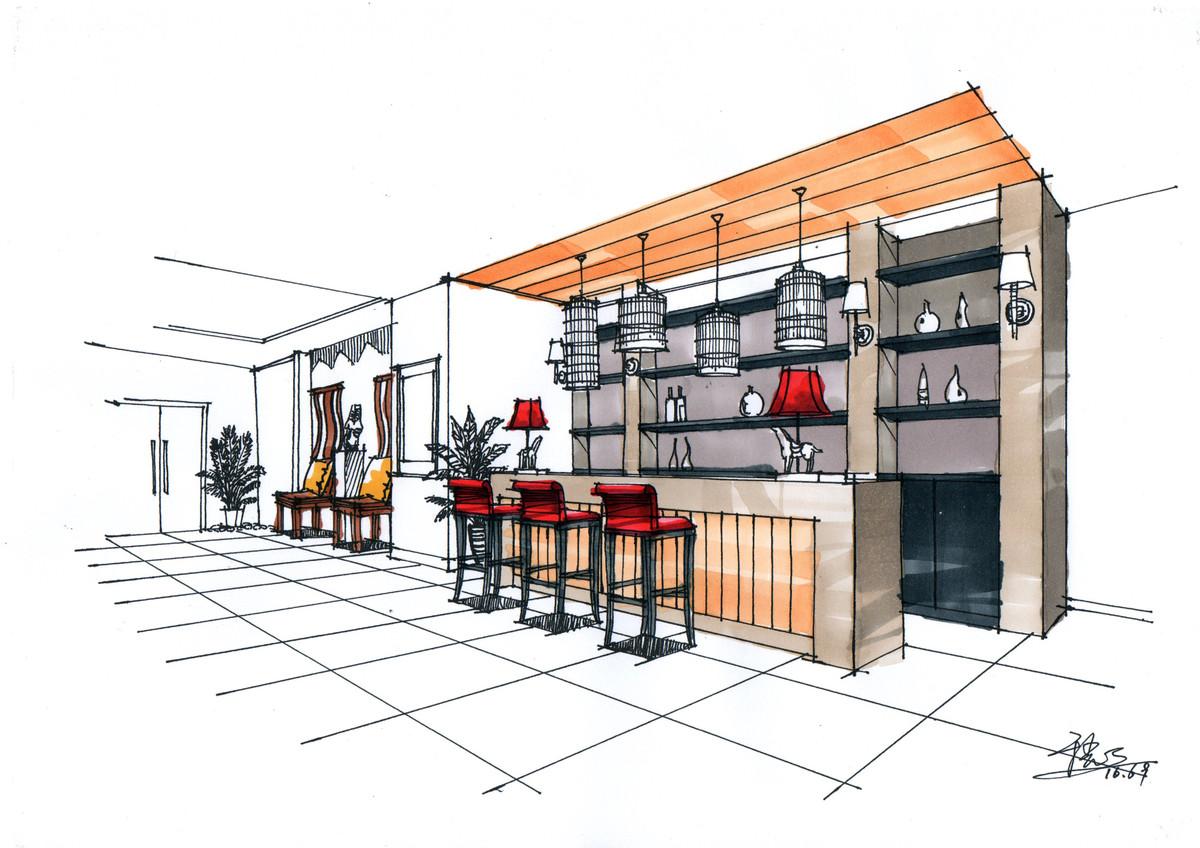 茶楼前台设计手绘表现