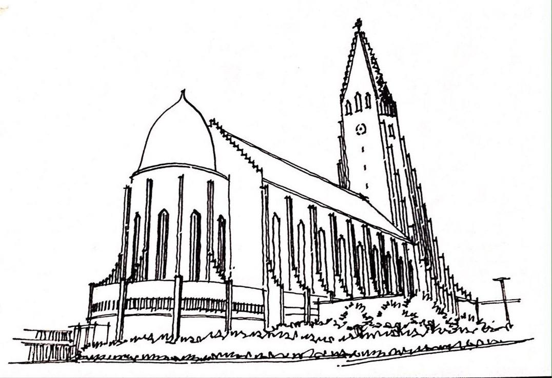 哈尔格林姆斯教堂手绘图片