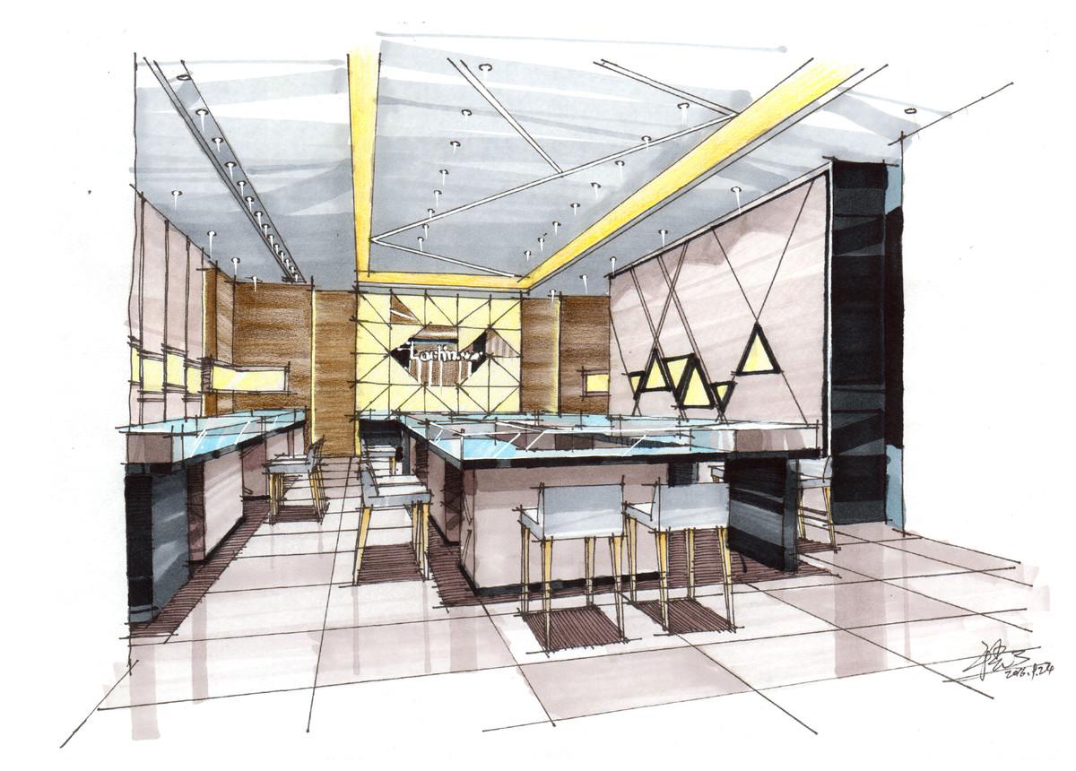 周大福珠宝店设计手绘表现