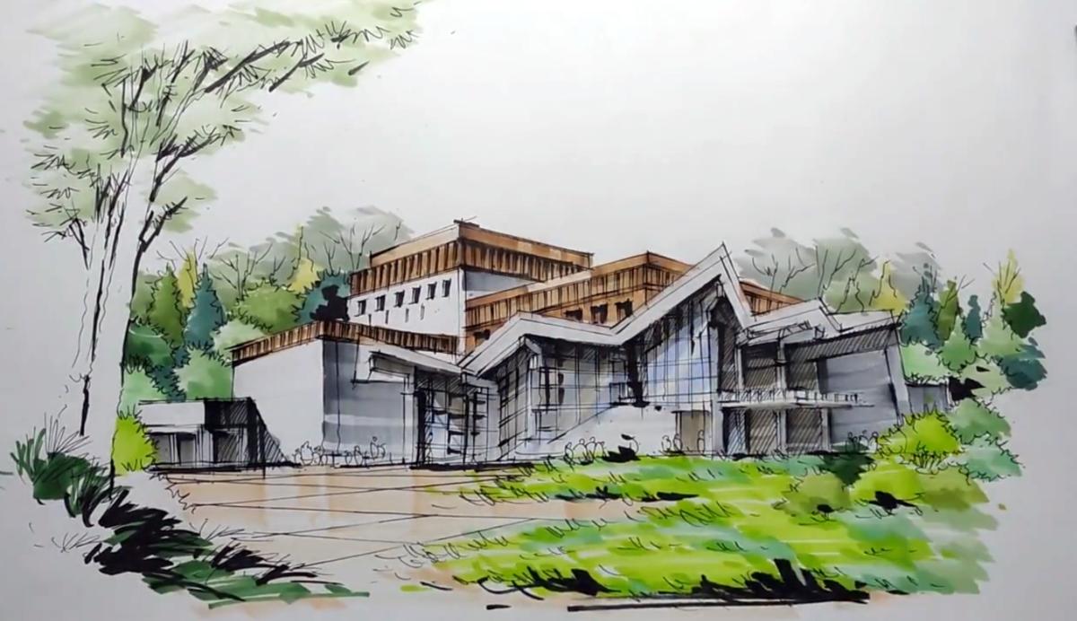 玉树康巴艺术中心建筑手绘