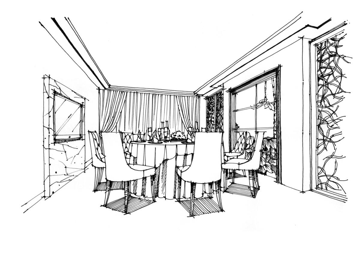 【杭州手绘】新中式餐厅包间设计手绘