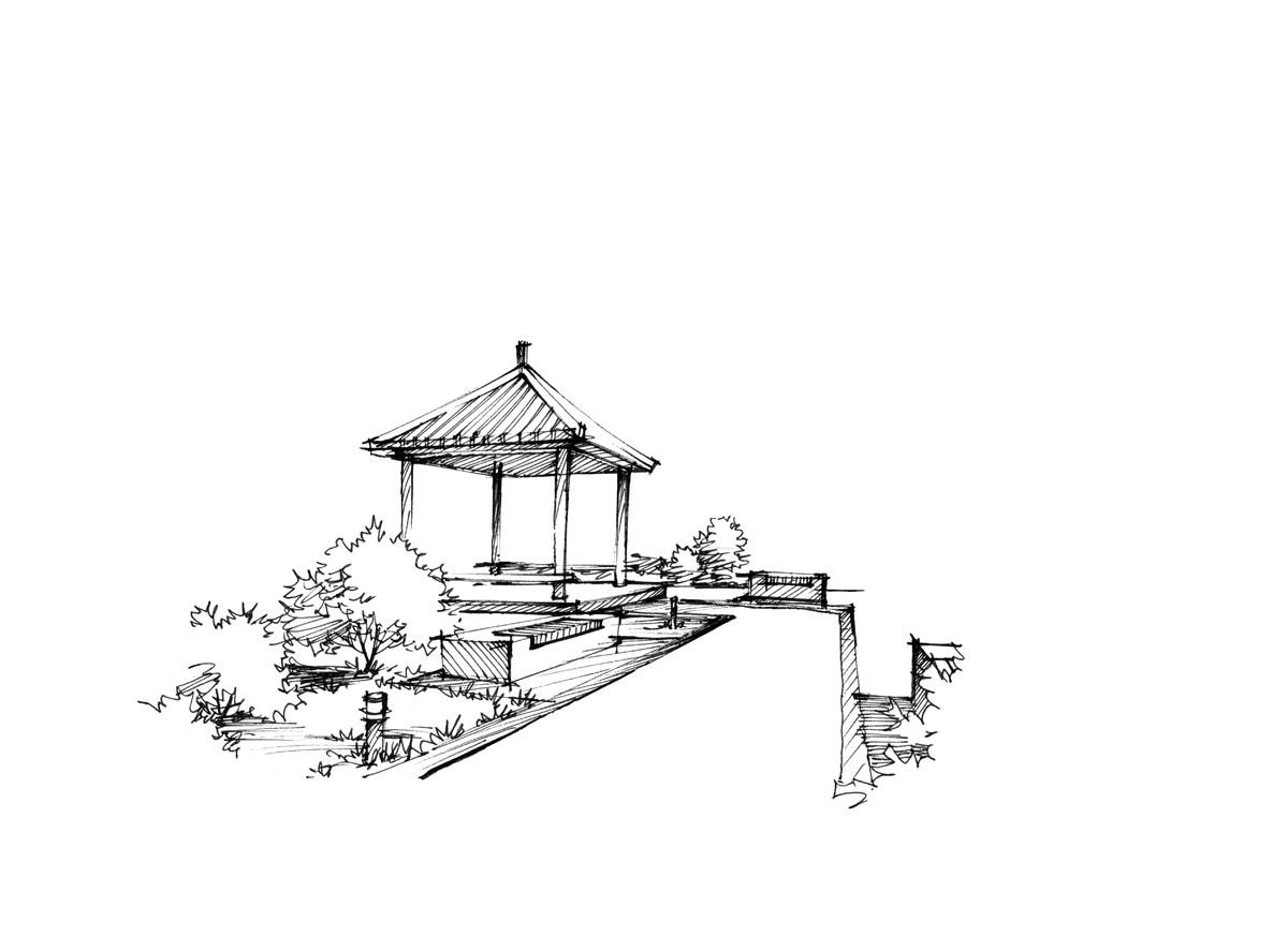 【青岛手绘】公园凉亭景观设计手绘