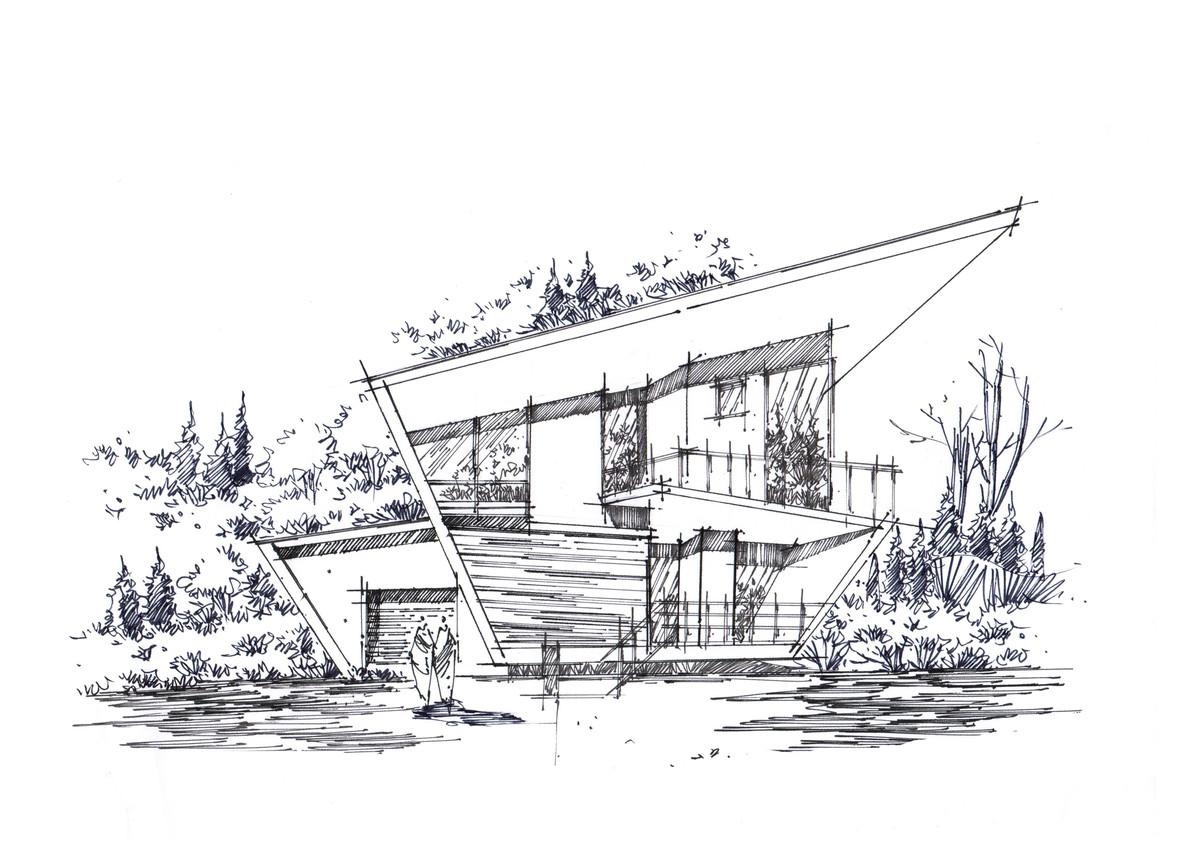 别墅手绘 高清线稿打印下载 这座别墅是为一对夫妇和他们的孩子设计