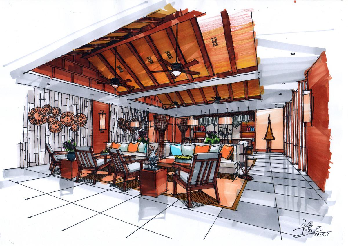 【杭州手绘】咖啡厅设计手绘表现