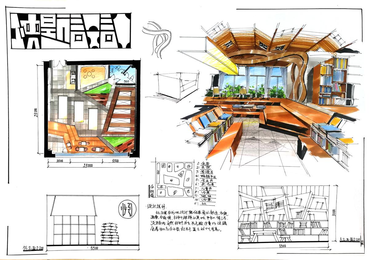 【杭州手绘考研】书吧考研快题设计 1图片