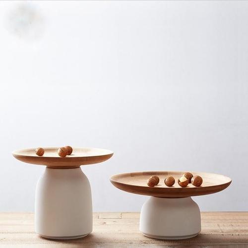 创意收纳干果盘竹盘子多功能储物白陶瓷罐家居摆件套装